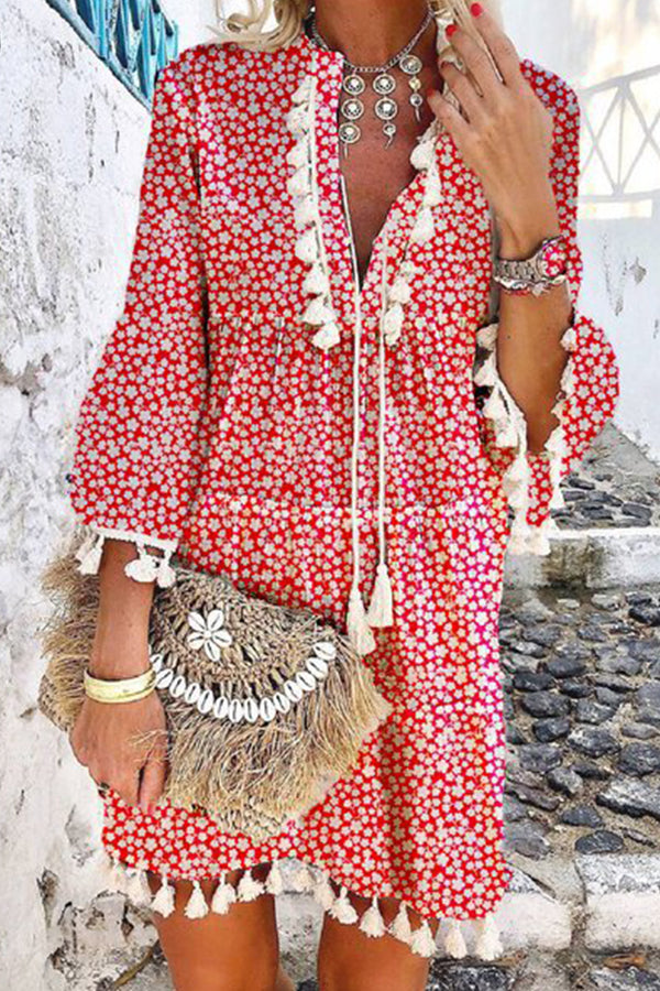 Bohemian Floral Print Paneled Tassel V-neck Drawstring Mini Dress