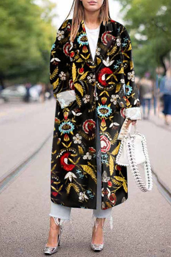 Bohemian Floral Jacquard Lapel Collar Paneled Fashion Coat