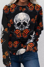 Mummy With Hat Skull With Butterfly Floral Daisy Print Halloween Sweatshirt