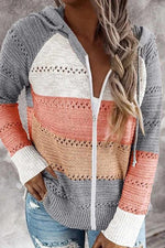 Striped Color-block Hollow Out Knitted Hooded Zipper Front Sweater