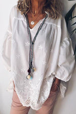 Floral Embroidery Paneled Hollow Out Casual V-neck Blouse