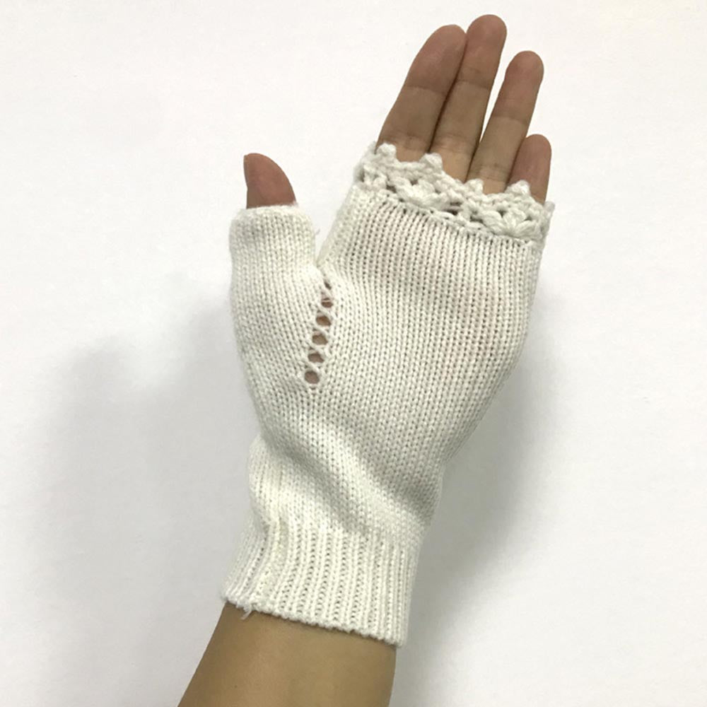Knitted Embroidery Fingerless Gloves