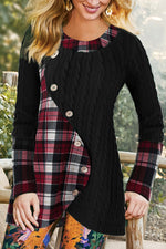 Irregular Color-block Plaid Print Knitted Ribbed Vintage Sweater