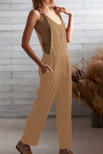 Solid Casual Side Pockets Tie Sleeveless Jumpsuit