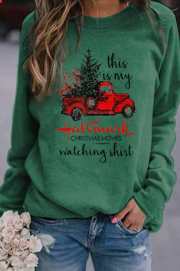 This Is My Hallmark Truck With Christmas Tree Print Party Sweatshirt