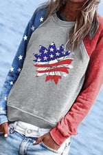 Color-block Star Daisy Striped Print Paneled Casual Sweatshirt