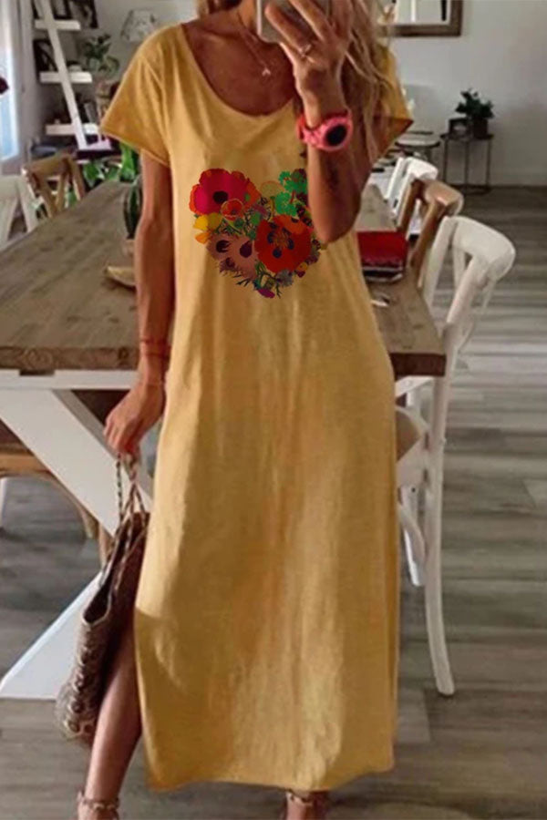 Floral Print Short Sleeves Holiday Slit Maxi Dress