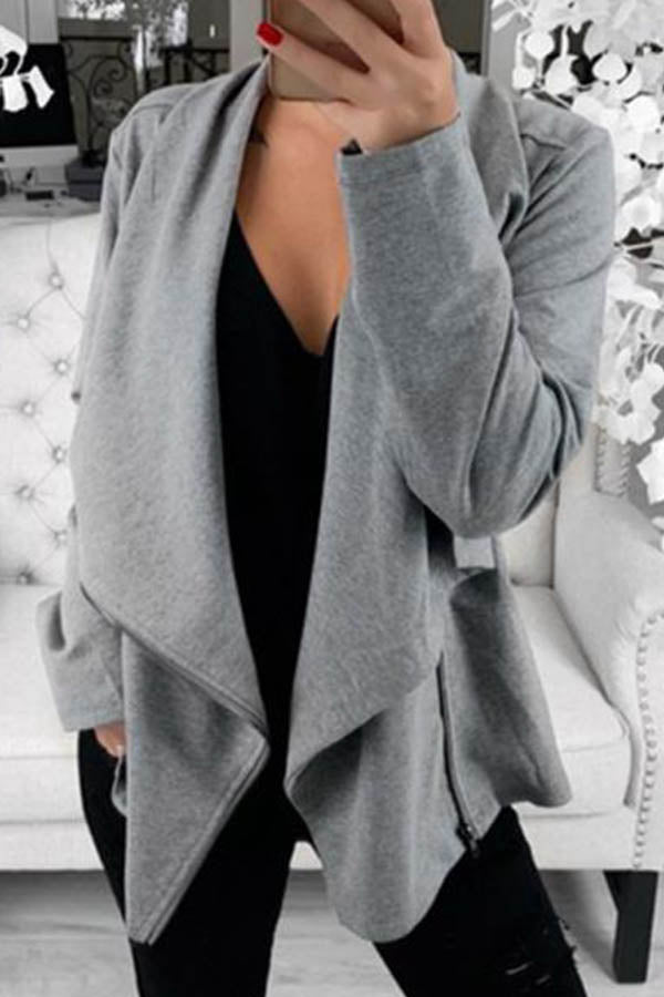 Fashion Solid Diagonal Zipper Front Lapel Collar Coat