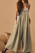 Vintage Embroidery Sling Sleeveless Paneled Tassel Pockets Wide Leg Jumpsuit