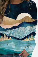 Artistic Vintage Landscape Print Starry Sky Abstract Mountain Print Sweatshirt