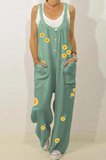 Sunflower Print Buttoned Pockets Casual Wide Leg Jumpsuit