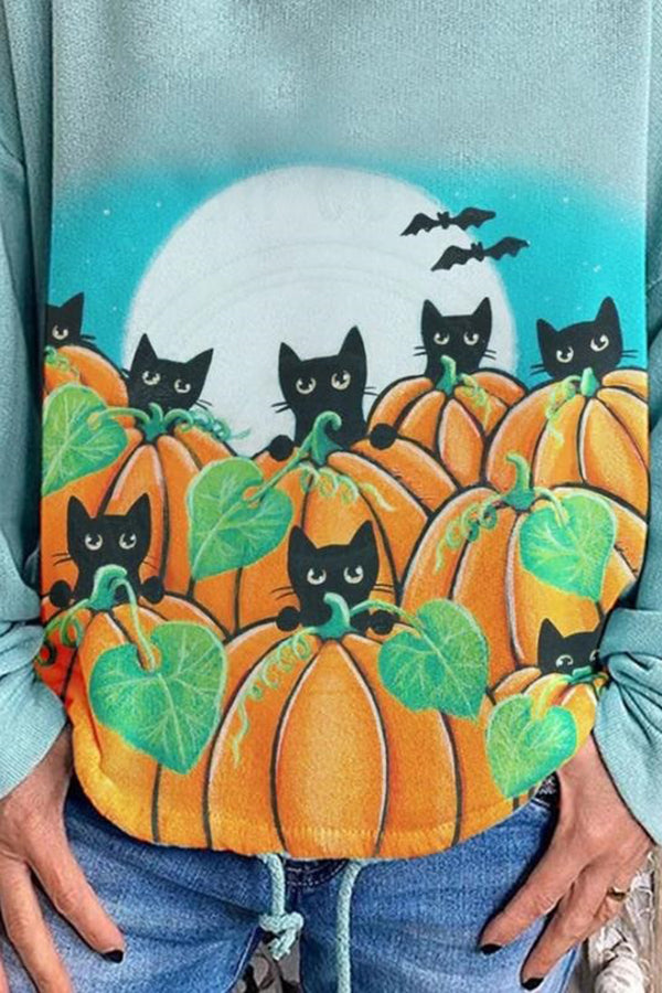 Halloween Cartoon Black Cat Pumpkin Bat Moon Print Gradient Hoodie