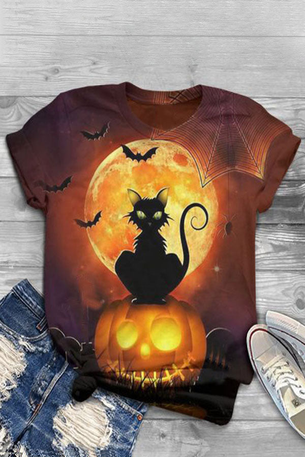 Halloween Black Cat Pumpkin Bat Witch Castle Moon Print T-shirt