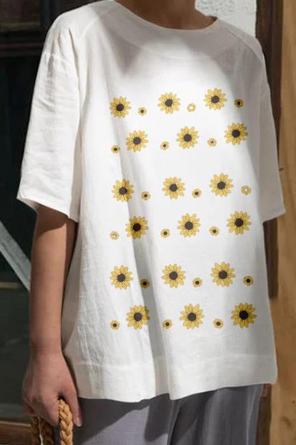 Sunflower Print Paneled Half Sleeves Casual T-shirt