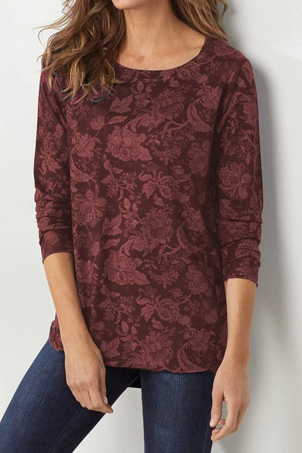 Floral Print Vintage Long Sleeves T-shirts