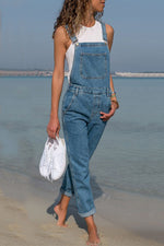 Solid Casual Paneled Side Pockets Spaghetti Denim Jumpsuit