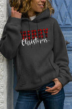 Merry Christmas Plaid Print Drawstring Paneled Pocket Hoodie