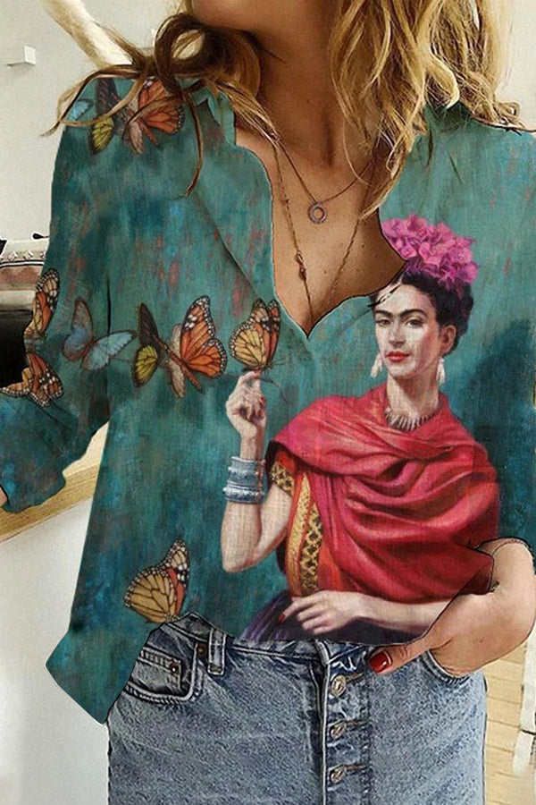 Indian Wearing Frida Kahlo Butterfly On Hand Floral On Head Print Gradient Vintage Blouse