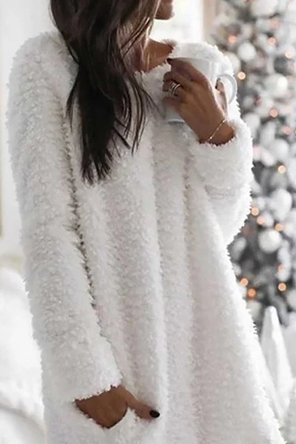 Fuzzy Solid Warm Paneled Pockets Sweater Dress