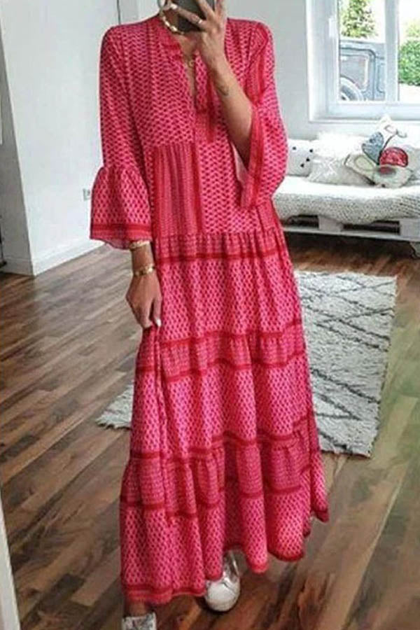 Bohemian Geometric Striped Print V-neck Bell Sleeves Maxi Dress