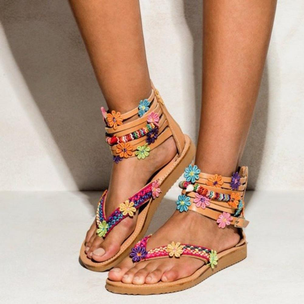 Flower Decoration Buckle Back Zipper Sandals