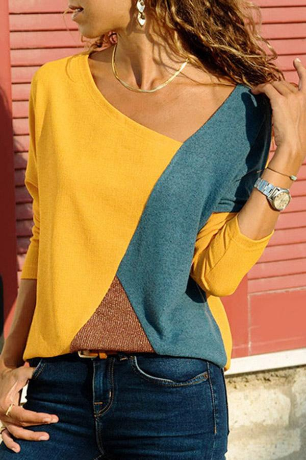 Color Block Casual Long Sleeves T-shirts