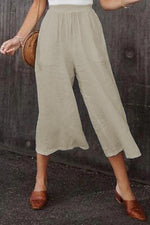 Casual Solid Side Pocket 3/4 Length Wide Leg Pants