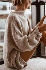 Knitted Solid Ribbed Hollow Out Loose Simple Sweater