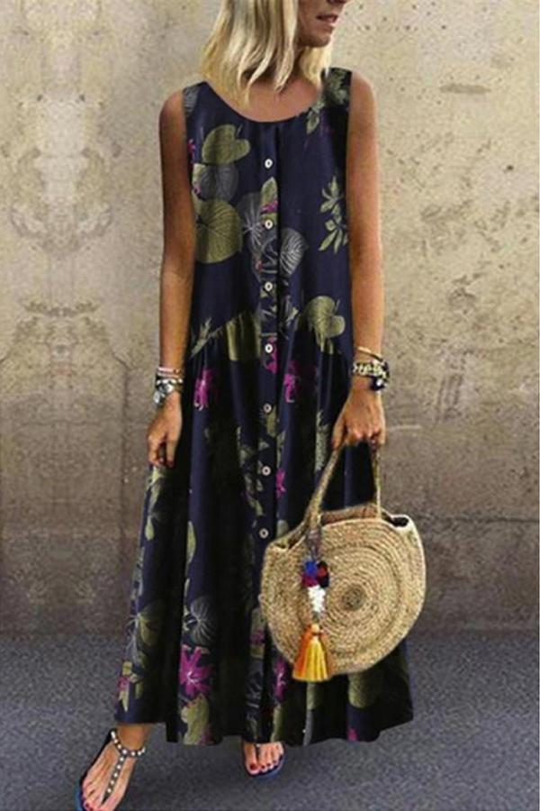 Bohemian Floral Print Button-up Maxi Dress