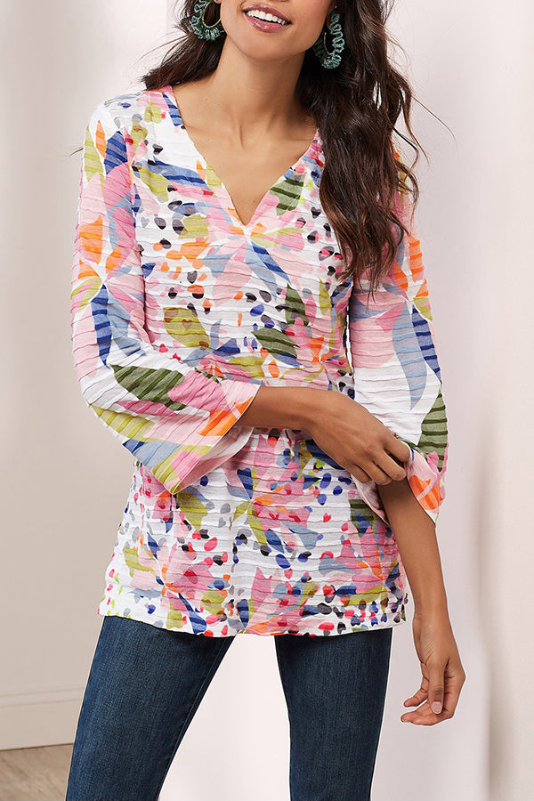 V Neck Pleated Loose Print Casual T-shirts