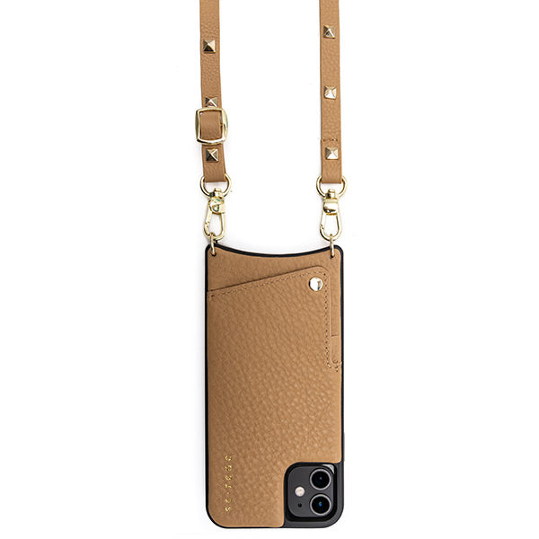 Everyday Tan Leather Phone Case with Gold Studded Strap