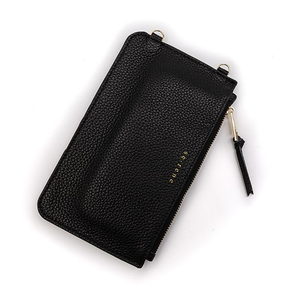 Black Leather Cell Phone Case & Black Pouch with Gold Studs Complete Set
