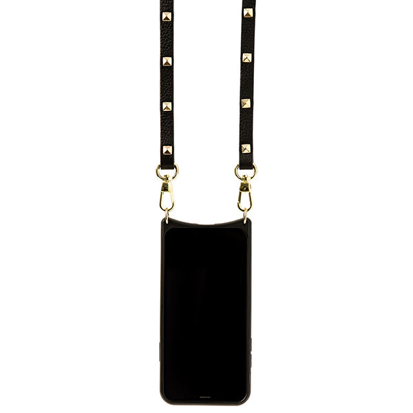 Everyday Black Leather Phone Case with Gold Studded Strap