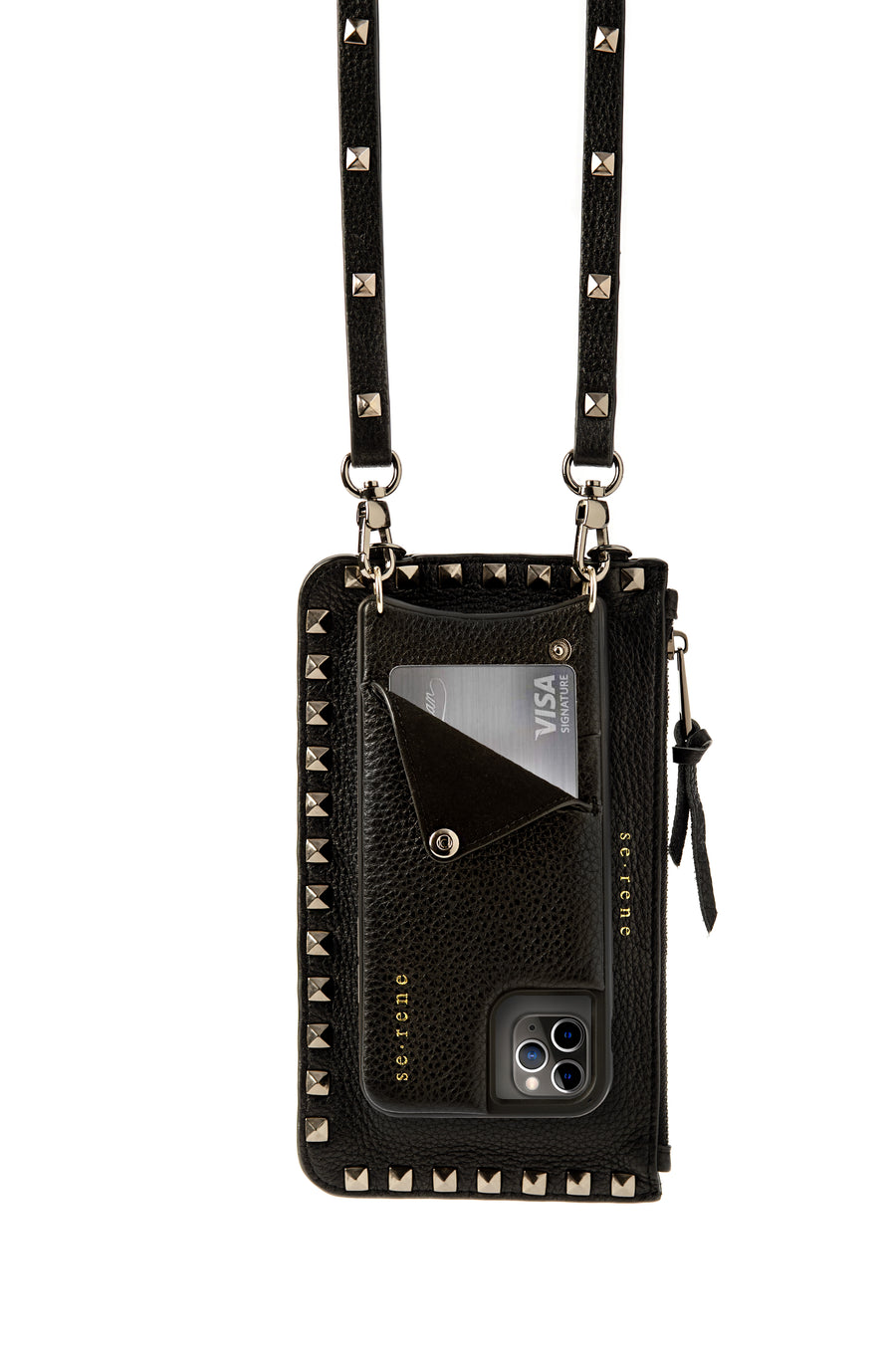 Black Leather & Pewter Studded Pouch Complete Set