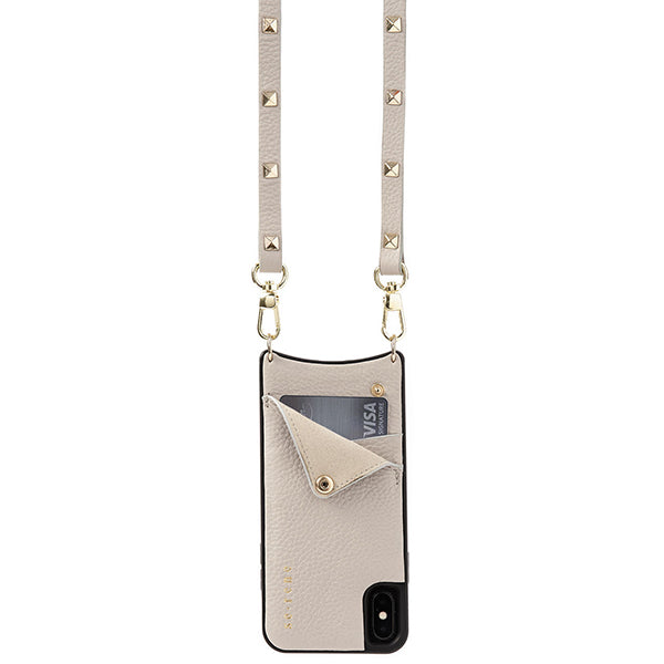 Everyday Beige Leather Phone Case with Gold Studded Strap
