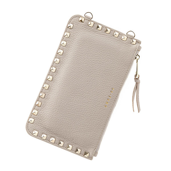 Beige & Gold Studded Fashion Pouch