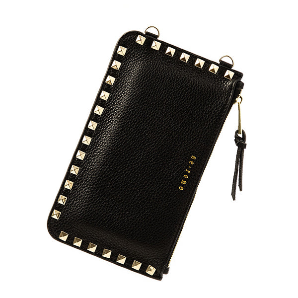 Black & Gold Studded Fashion Pouch