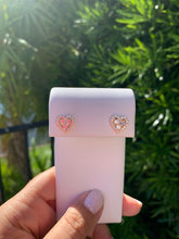 Load image into Gallery viewer, Three Stud Heart Earrings