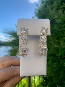 Triple Square Long Statement Earrings