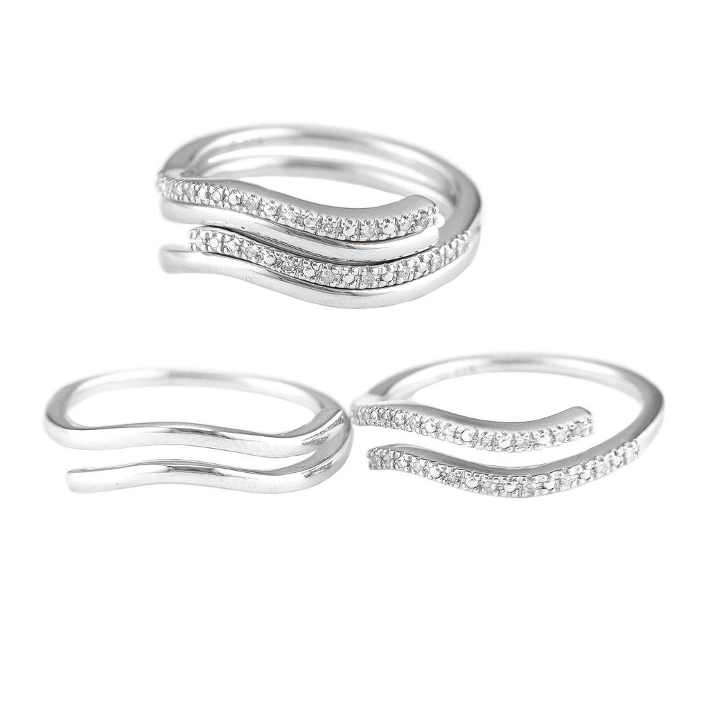 Silver Diamond Stackable Ring