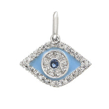 Load image into Gallery viewer, Diamond & Sapphire Enamel Eye Charm