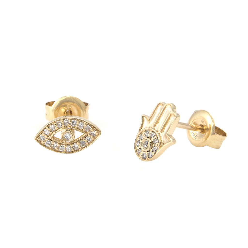 14K Eye Hamsa Diamond Earrings