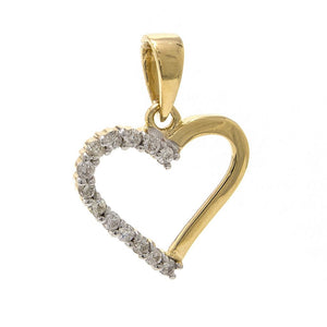 Half Diamond Heart Pendant
