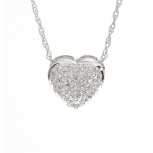 14K Pave Heart Necklace