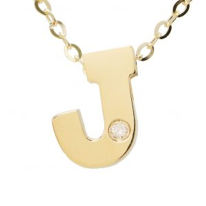14K Mini Initial Necklace with Diamond