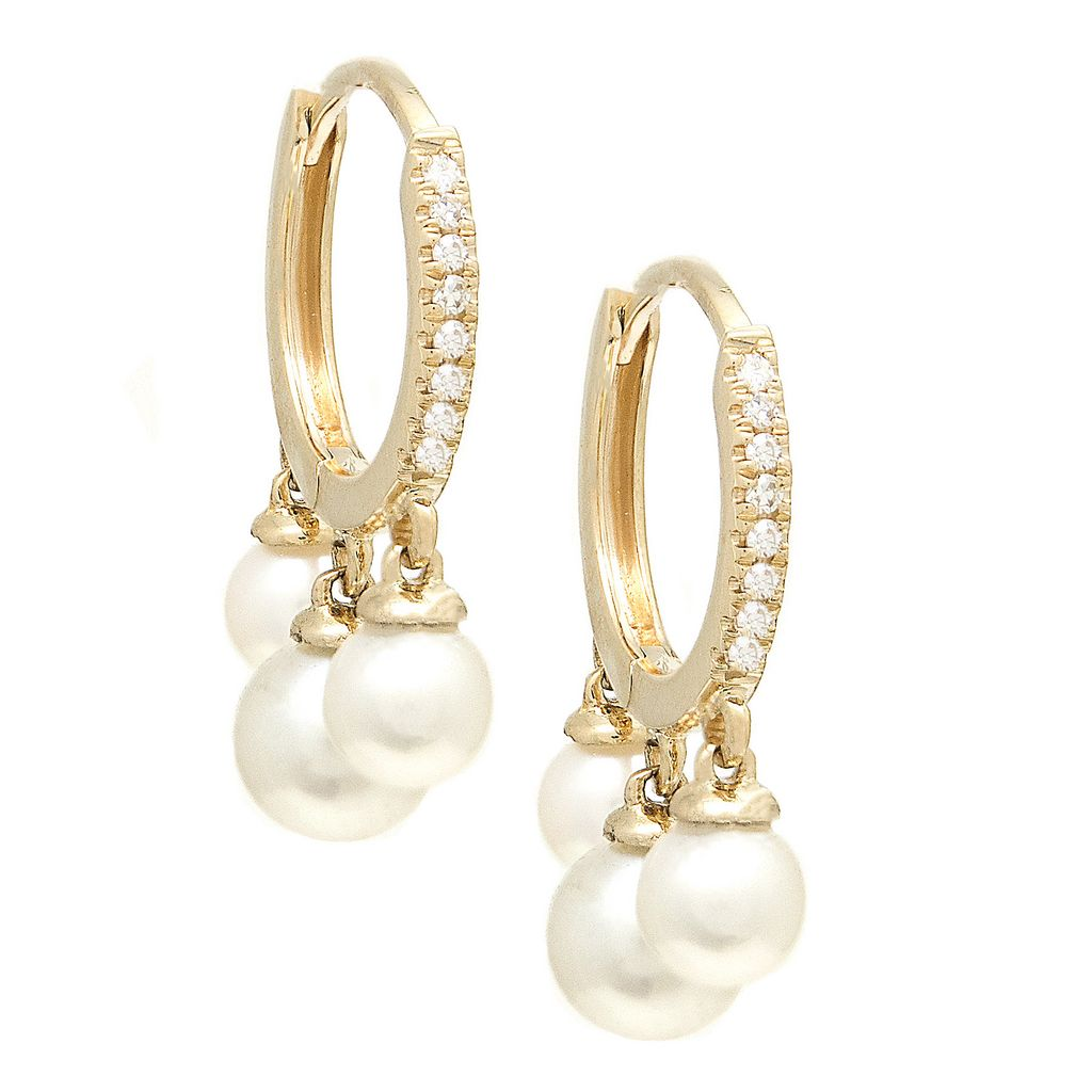 14K Diamond Pearl Dangling Huggies