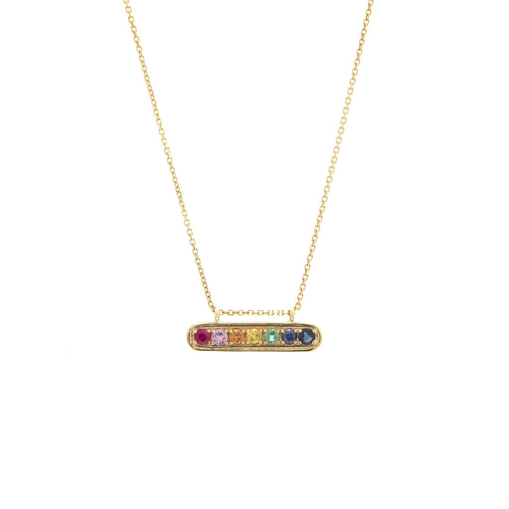 Rainbow Round Bar Necklace