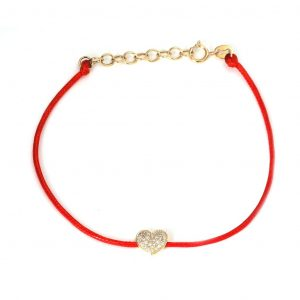 Diamond Heart Silk Cord Bracelet