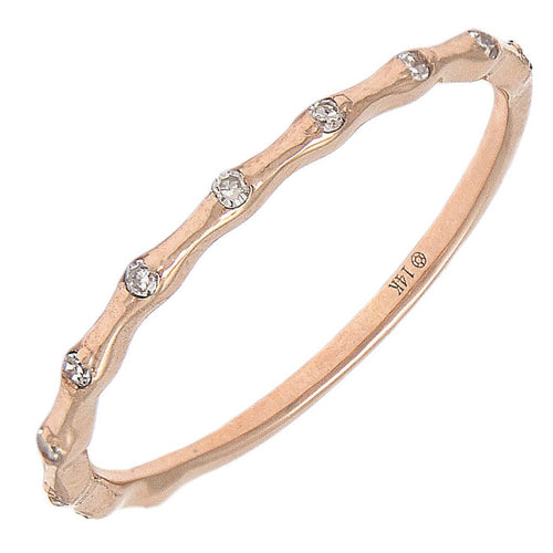 14K Rose Gold Fashion Stackable Diamond Band