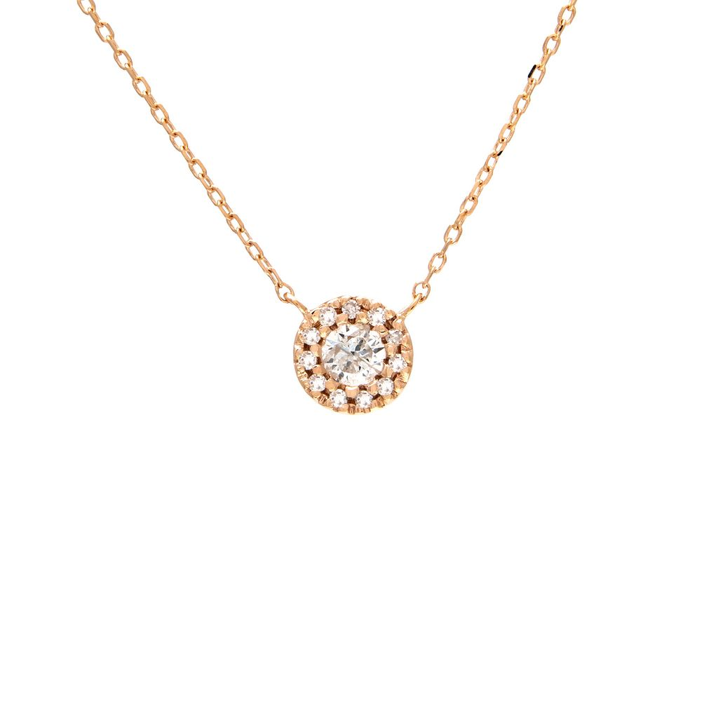 14K Mini Round Halo Diamond Necklace